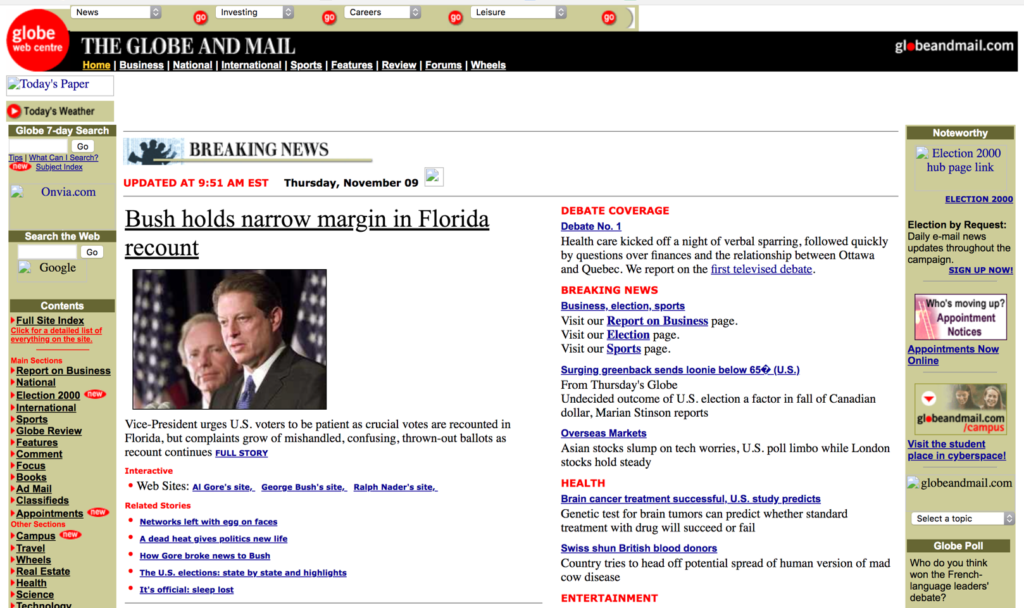 Globe and Mail website circa 2000