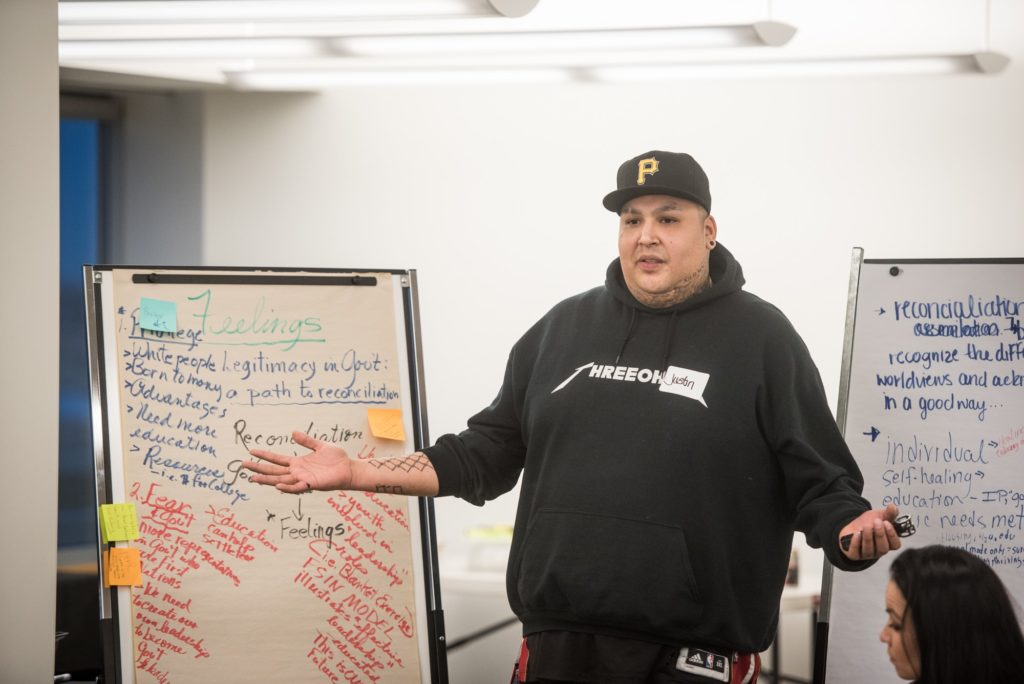 Participant explains in front of white board