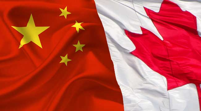 mix of chinese and canadian flags