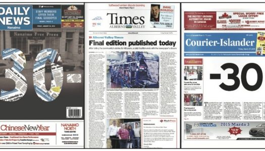 Covers of three Canadian newspapers' final editions