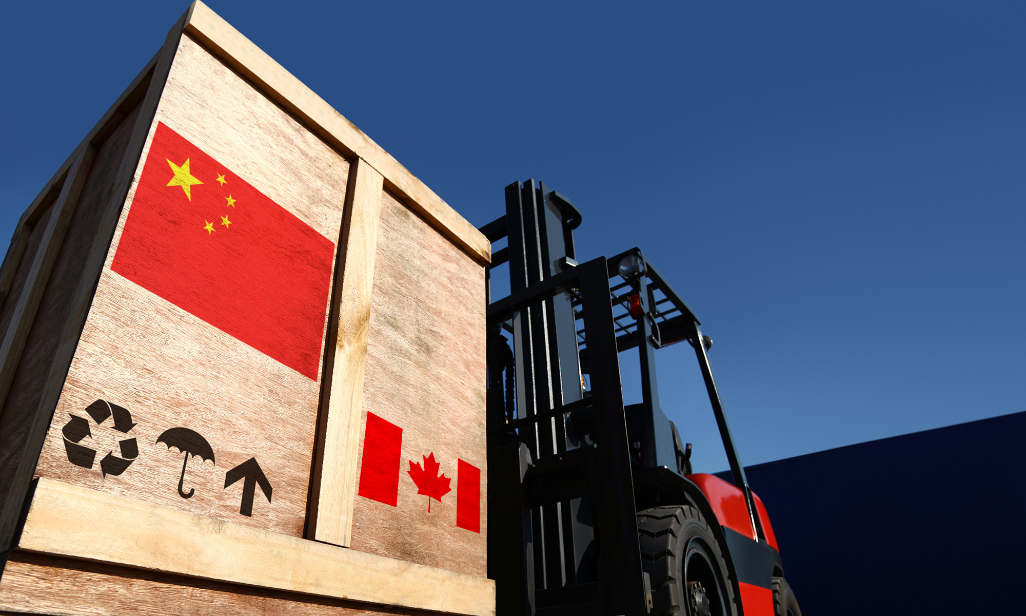 Shipping crate with Chinese and Canadian flags