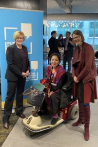 The Honourable Carla Qualtrough, Minister of Employment, Workforce Development and Disability Inclusion, Jenny Lay-Flurrie, Chief Accessibility Officer at Microsoft, Yazmine LaRoche, Deputy Minister of Public Service Accessibility.