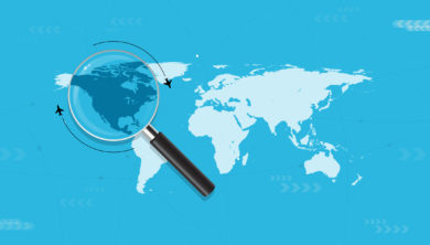 Vector image of a magnifying glass on top of Canada, in a world map