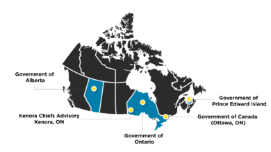 Map of Canada including where cases of the Public Service Innovation During COVID-19 project are from