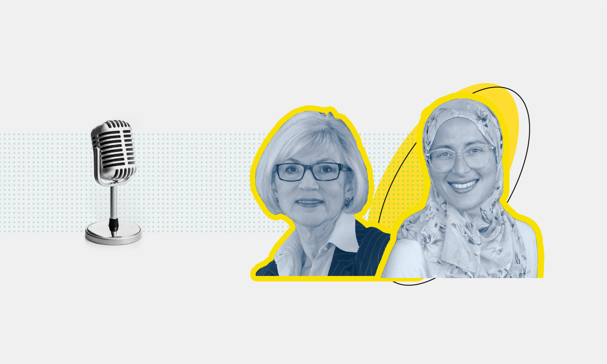 Decorative image with the headshots of Amira Elghawaby and Beverley McLachlin