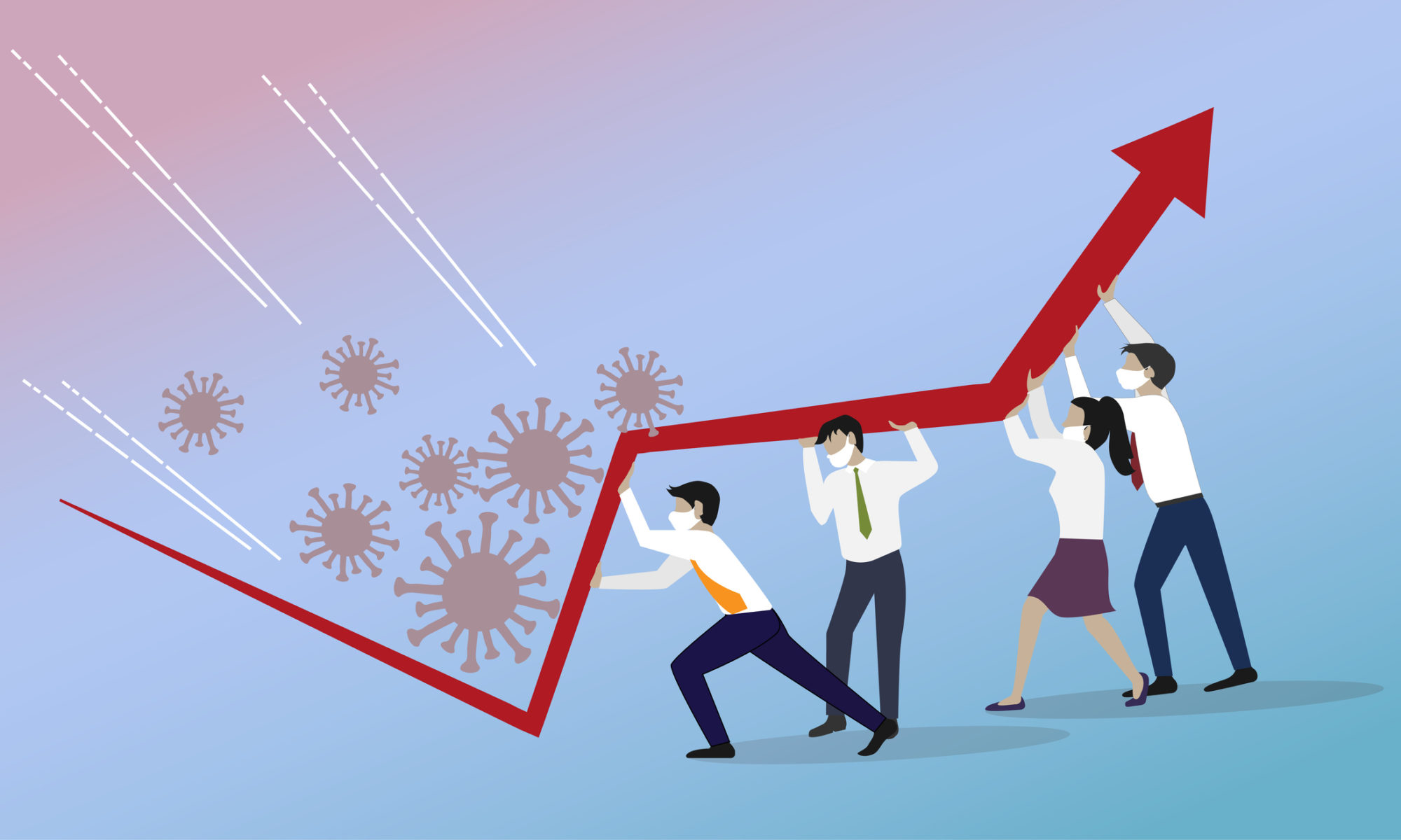 Vector conceptual drawing of 4 business people struggling with growth in the pandemic