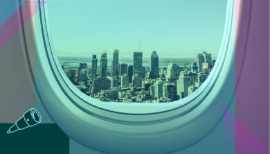 View of Montreal city from a plane window
