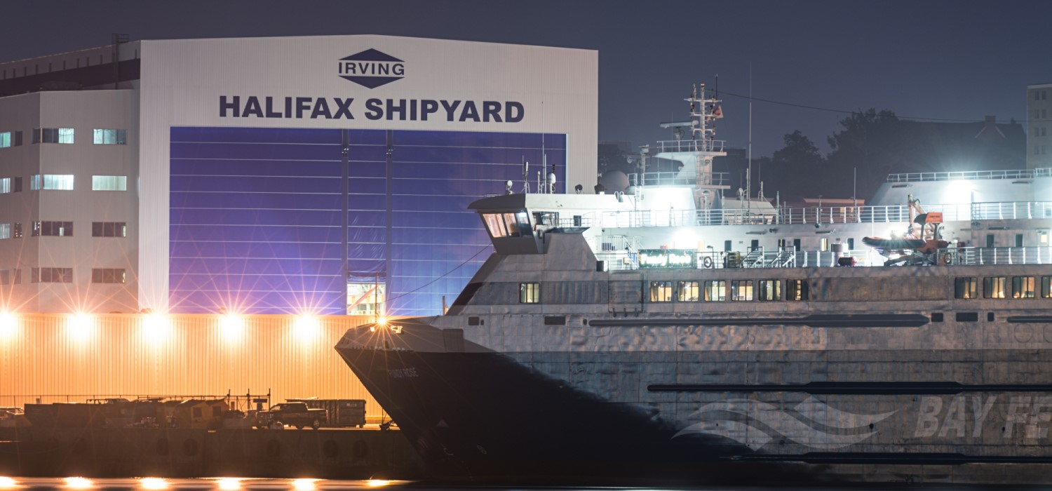 Bay Ferries' Fundy Rose is docked at Irving's Halifax Shipyard in Halifax Harbour at night. The ferry replaces the Princess of Acadia and will provide a passenger ferry service from Saint John New Brunswick to Digby Nova Scotia across the Bay of Fundy.