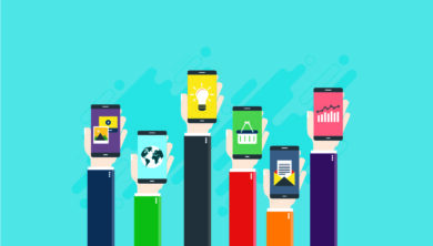 Vector art of multiple hands holding up smart phones with various data on the screens