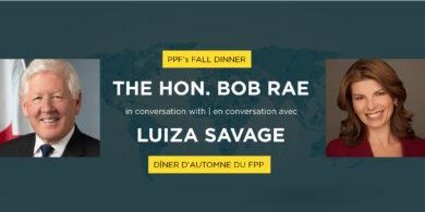 Headshot of Bob Rae and Luiza Savage