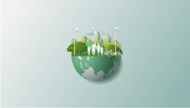 Vector image of a globe with greenery, people walking, and windmills